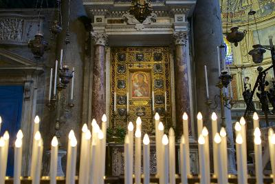 Italy, Tuscany, Pisa, Piazza Dei Miracoli. Inside the Duomo, Electric Candles and Painting-Michele Molinari-Photographic Print