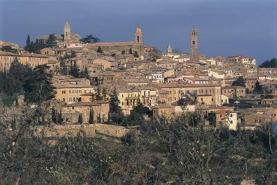 Italy, Tuscany Region, Val D'Orcia, Town of Montalcino on Hill--Giclee Print