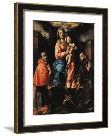 Italy, Varallo, Painting of Madonna and Child with Saint Francis and Saint Charles--Framed Giclee Print