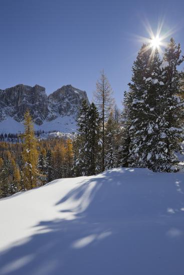 Italy, Veneto, Passo Di Giau, Croda Da Lago, the Sun-Rainer Mirau-Photographic Print