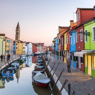 Italy, Veneto, Venice, Burano. Sunset in the Town-Matteo Colombo-Photographic Print