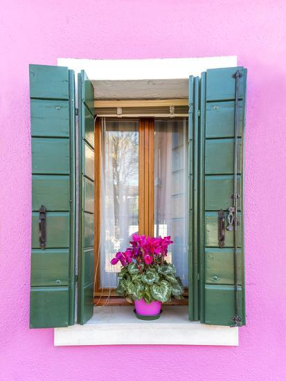 Italy, Veneto, Venice, Burano. Typical Window on a Colorful House-Matteo Colombo-Photographic Print