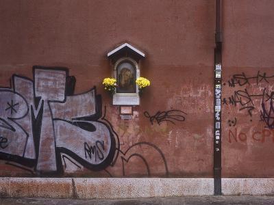 Italy, Veneto, Venice, Facade, Madonna, Graffiti-Andreas Keil-Photographic Print