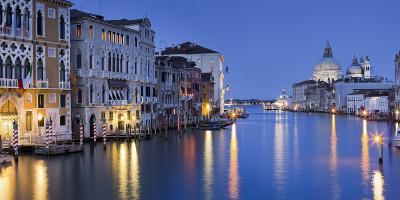 Italy, Veneto, Venice, Grand Canal, Santa Maria Della Salute, Dusk-Rainer Mirau-Photographic Print