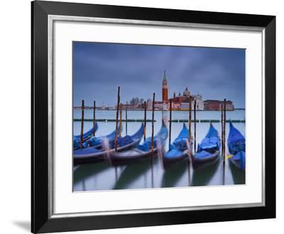 Italy, Veneto, Venice, St. Mark's Square, Gondolas, San Giorgio Maggiore, Lagoon, Evening Mood-Rainer Mirau-Framed Photographic Print