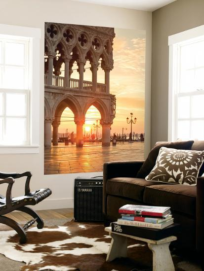Italy, Veneto, Venice. Sunrise over Piazzetta San Marco and Doges Palace-Matteo Colombo-Wall Mural