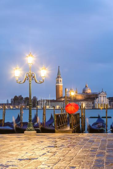 Italy, Veneto, Venice. Woman with Red Umbrella on Riva Degli Schiavoni at Dawn (Mr)-Matteo Colombo-Photographic Print
