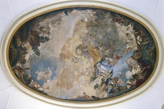 Italy, Venice, Ceiling of Church of Pieta or St Mary of Visitation, Coronation of Mary-Giambattista Tiepolo-Giclee Print