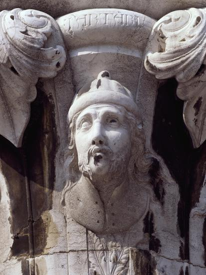Italy, Venice, Doge's Palace, Head of Tartar Warrior, Detail from Capital--Giclee Print