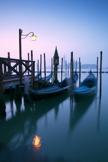 Italy, Venice. Gondolas Moored on Riva Degli Schiavoni at Sunrise-Matteo Colombo-Photographic Print
