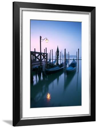 Italy, Venice. Gondolas Moored on Riva Degli Schiavoni at Sunrise-Matteo Colombo-Framed Photographic Print