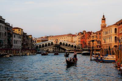 Italy, Venice, Grand Canal with View of Rialto Bridge.-Terry Eggers-Photographic Print