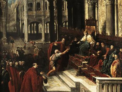 Italy, Venice, Painting of Fisherman Giving Ring to Doge of Venice--Giclee Print
