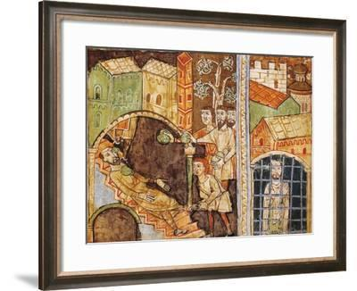 Italy, Vercelli, Stoning and Imprisonment of Saint Stephen, Miniature--Framed Giclee Print