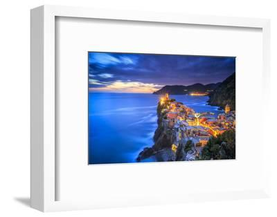 Italy, Vernazza. Overview of coastal town at sunset.-Jaynes Gallery-Framed Photographic Print