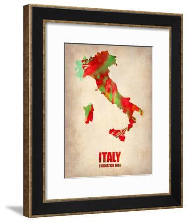 Italy Watercolor Map-NaxArt-Framed Art Print