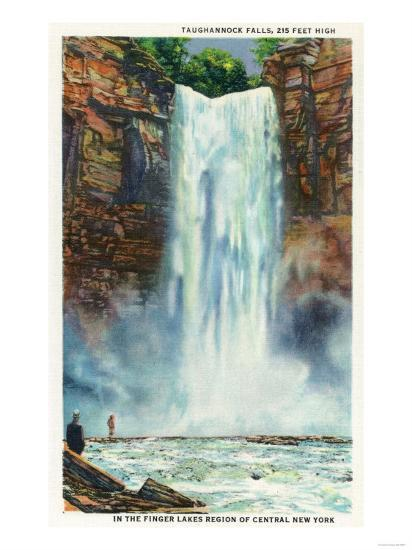 Ithaca, New York - View of Taughannock Falls from the Bottom-Lantern Press-Art Print