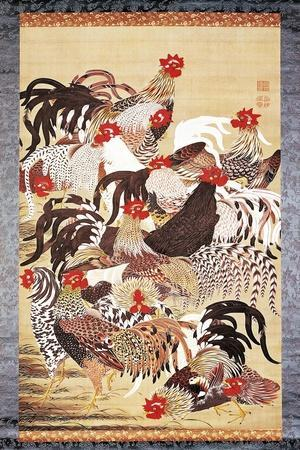 Thirteen Roosters, from Doshoku Sai-E