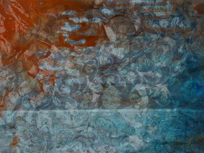 Paper with Gray, Orange, and Blue Paint Abstract