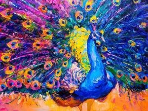 Original Oil Painting on Canvas. Colorful Peacock. Modern Art by Ivailo Nikolov