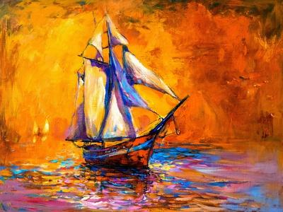 Original Oil Painting on Canvas-Sail Boat-Modern Impressionism by Nikolov