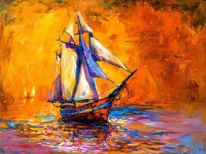Original Oil Painting on Canvas-Sail Boat-Modern Impressionism by Nikolov by Ivailo Nikolov