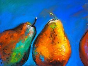 Pastel Painting on a Cardboard. Pears-Fruits on a Blue Background. Modern Art by Ivailo Nikolov
