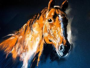 Pastel Portrait of a Brown Horse on a Cardboard. Modern Art by Ivailo Nikolov