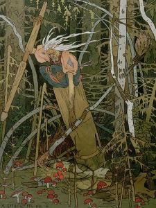 """The Witch Baba Yaga, Illustration from the Story of """"Vassilissa the Beautiful,"""" 1902 by Ivan Bilibin"""