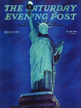 """""""Statue of Liberty,"""" Saturday Evening Post Cover, January 10, 1942"""