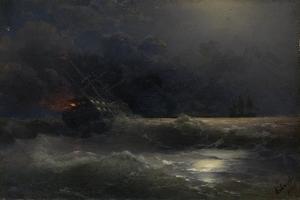 Burning Ship (An Episode of the Russian-Turkish War), 1896 by Ivan Konstantinovich Aivazovsky