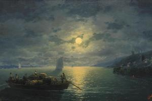 Crossing the Dnepr River at Moonlit Night, 1897 by Ivan Konstantinovich Aivazovsky
