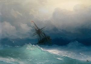 Ship on Stormy Seas by Ivan Konstantinovich Aivazovsky
