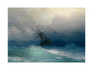Ship on Stormy Seas by Ivan Konstantinovich Aivazovsky