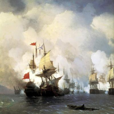 The Naval Battle of Chesma on 5th July 1770, 1848 by Ivan Konstantinovich Aivazovsky