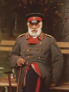 Portrait of a Russian General Seated on a Bench, 1882 by Ivan Nikolaevich Kramskoi