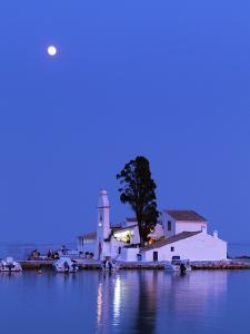 Night Scene of Vlacherna Monastery with Moon, Kanoni, Corfu, Greece by Ivan Vdovin