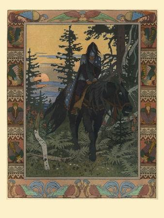 Illustration for the Fairy Tale of Vasilisa the Beautiful and White Horseman, 1900