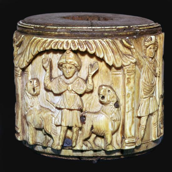 Ivory box showing Daniel in the lions den, 6th century-Unknown-Giclee Print