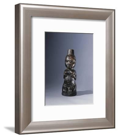 Ivory carving of a kneeling naked woman, Yoruba, Nigeria-Werner Forman-Framed Giclee Print