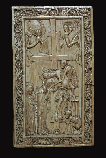Ivory carving of the deposition from the cross. Artist: Unknown-Unknown-Giclee Print