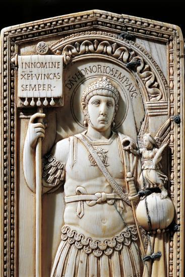 Ivory Diptych of Consul Anicius Petronius Probus Depicting Emperor Honorius--Giclee Print