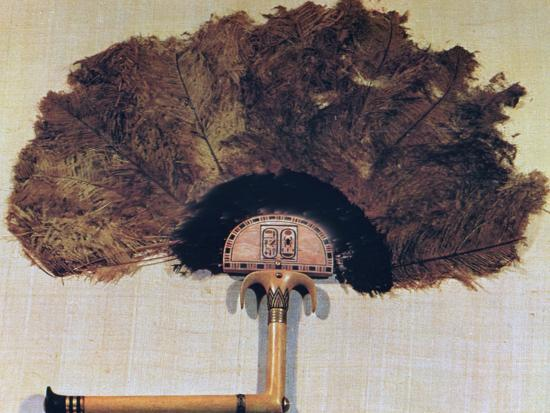 Ivory Fan Trimmed with Ostrich Feathers, from the Tomb of Tutankhamun, 14th Century Bc--Photographic Print