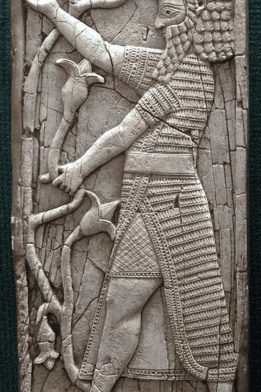 Ivory fragment depicting a warrior, Phoenician, Iraq, last third of 8th century BC-Werner Forman-Photographic Print