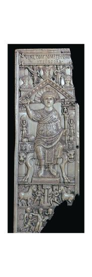 Ivory leaf of a consular diptych of Flavius Anastasius, 6th century-Unknown-Giclee Print