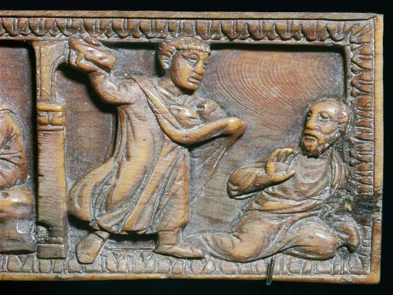 Ivory panel showing the stoning of St Paul, 4th century-Unknown-Giclee Print