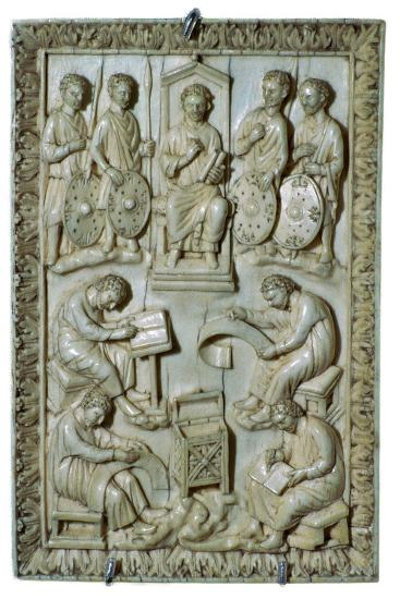 Ivory plaque of a reliquary from the treasure of St Denis, 10th century-Unknown-Giclee Print