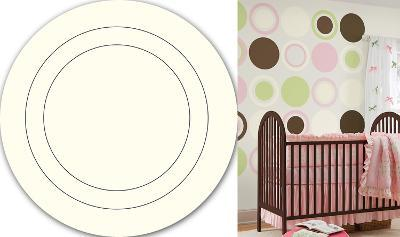 Ivory White Concentric Dot Wall Decal Sticker--Wall Decal