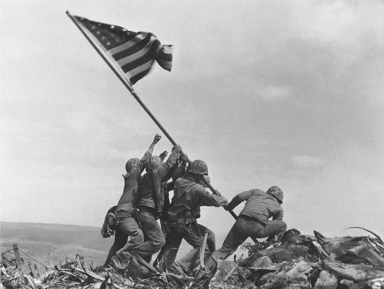 Iwo Jima Flag Raising-Joe Rosenthal-Photographic Print