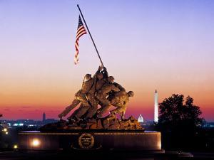 Iwo Jima Memorial at dawn, Washington Monument, Washington DC, USA